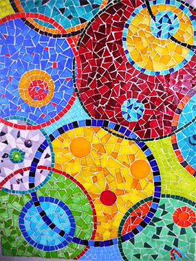 Détail du décor en mosaïques Art Déco