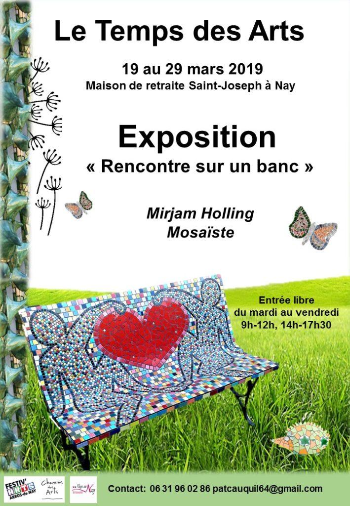 Affiche de l'exposition et ateliers intergénérationnelles, avec le banc de l'Amitié en mosaïque.