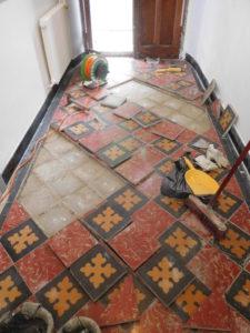 Restauration d'un couloir en carreaux ciment